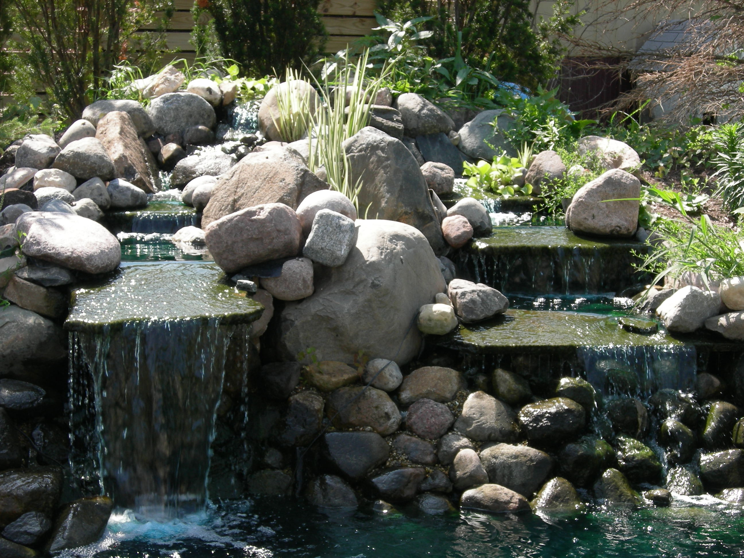Joos lawnscapes ponds and waterfalls for Tiered pond waterfall